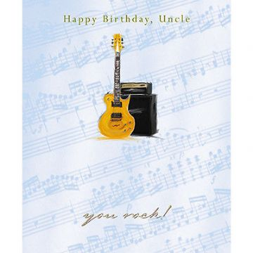 "UNCLE BIRTHDAY CARD ""ELECTRIC GUITAR & AMPLIFIER"" SIZE 7"" x 5.75""  JRHI 0016"